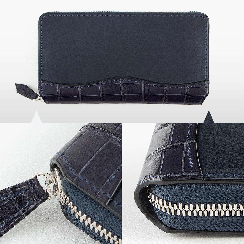 Crevaleathco(クレバレスコ)のブリランテ × クロコダイル ラウンドジップ長財布の独自のファスナーエンド