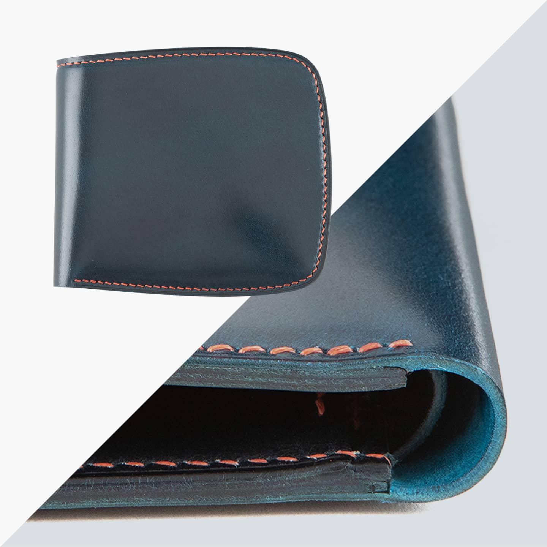 オイルコードバン & ブッテーロ シェル型二つ折り財布(小銭入れ付き)