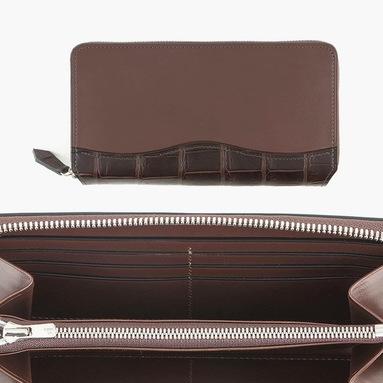外装(ブリランテ):Dark Brown / 外装装飾・引き手(クロコダイル):Dark Brown / ファスナー:Silver