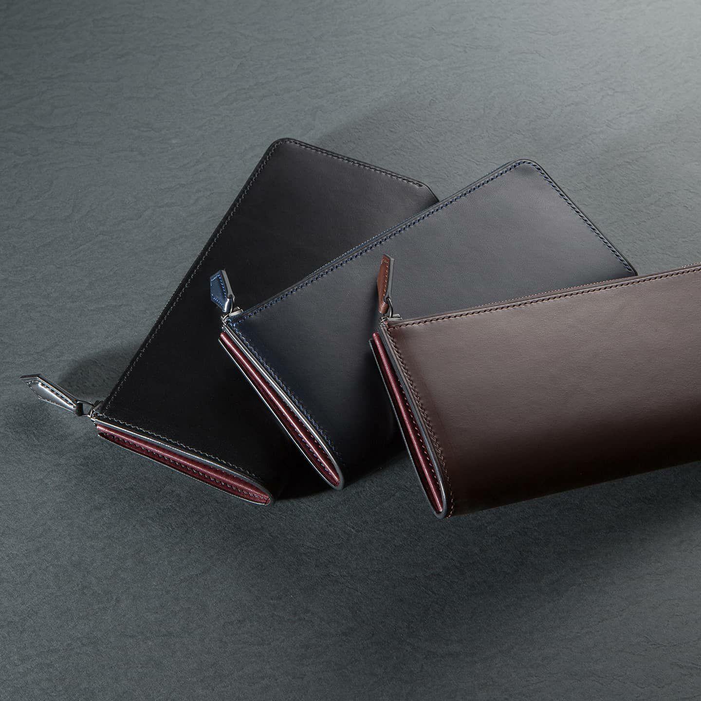 ブリランテ L字ジップ長財布:左から Black、Navy Dark、Brown