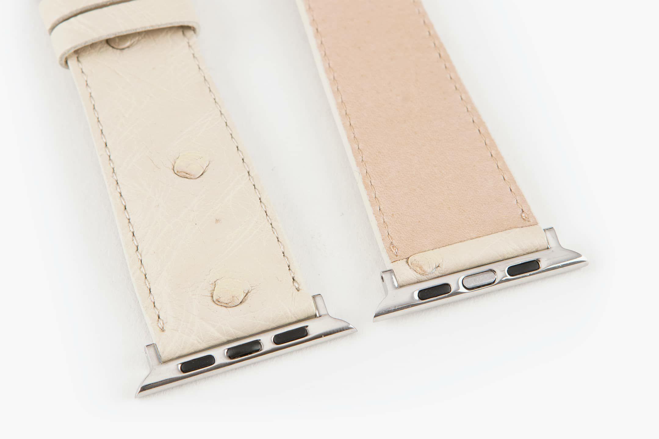 表面:White / 裏面:ナチュラルカーフ / エンドピース&尾錠:Silver